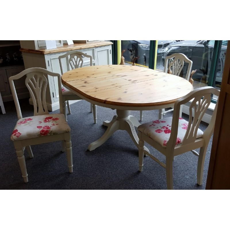 Ducal Pine Extendable Table And 4 Chairs Off White No 3