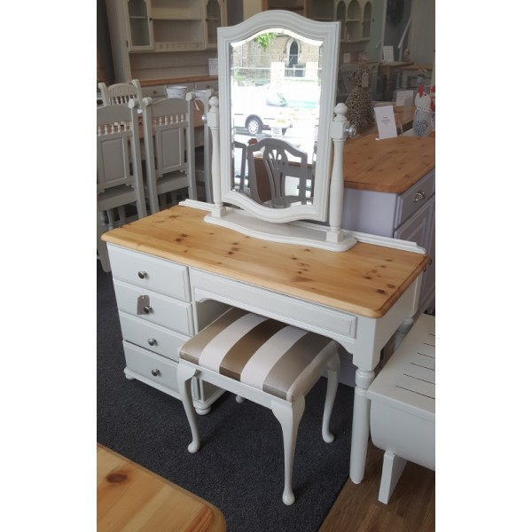 Ducal pine dressing table mirror and stool in farrow