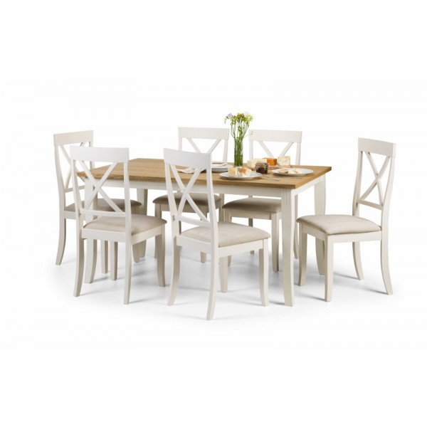 Davenport Dining set in White and oiled oak Veneer with 6 chairs