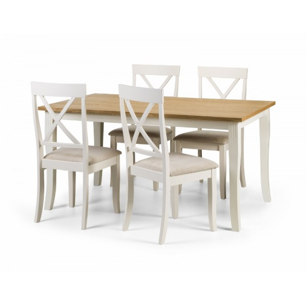 Davenport Dining set in White and oiled oak Veneer with 4 chairs