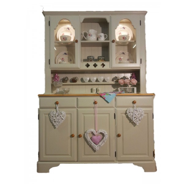 Ducal Pine Three Quarter Glazed Dresser Painted In Farrow And Ball Off White No 3