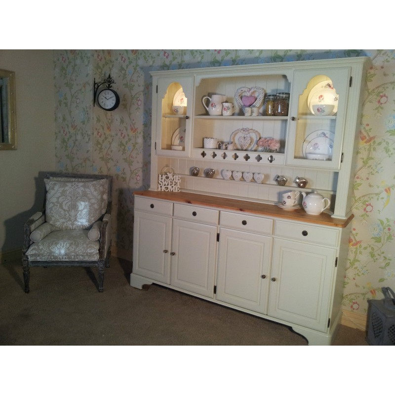 Ducal Pine Kitchen Welsh Dresser Painted In Farrow And Ball Off White No 3