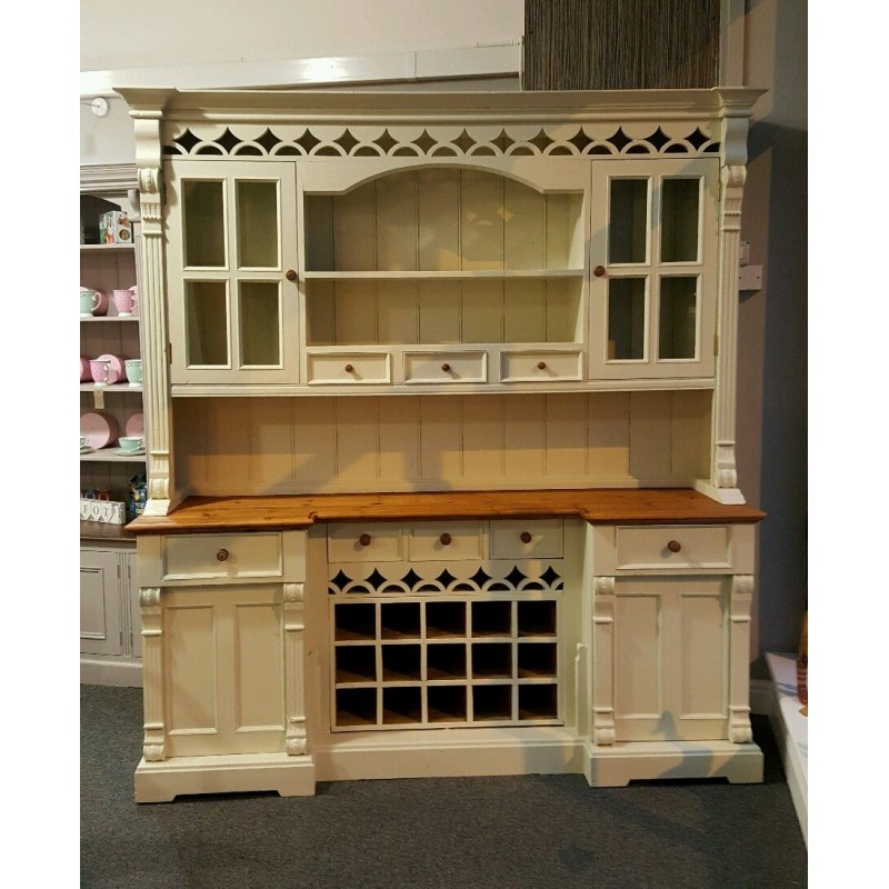 Reclaimed Keen Pine Kitchen Welsh Dresser Painted In Farrow And Ball Off White No 3
